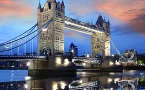 Тауэрский мост, столица, вечер, Темза, Англия, Великобритания, небо, Лондон, закат, облака, отражение, Соединённое Королевство, огни, вода, Европа