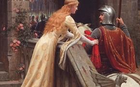 дева, романтизм, картина, прерафаэлит, английский художник, Средневековье, рыцарь, напутствие, замок, Бог в помощь, белый конь, Счастливого пути, прощание, девушка, Эдмунд Блэр Лейтон