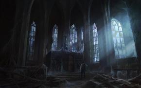 windows, light, Art, gloomily, abandonment, web, man, temple, castle
