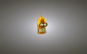 Футурама, минимализм, Бе́ндер Сгибальщик Родри́гес, робот, голова, золотой