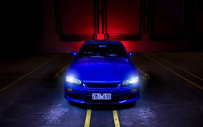 Nissan, pasmo, Przód, niebieski, Nissan, reflektory, sylwetka na tle nieba