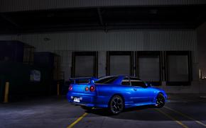 ala, Nissan, zadok, sombra, azul, Nissan, horizonte