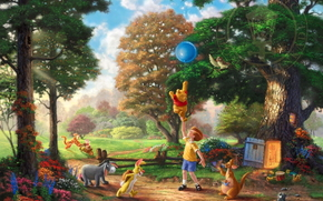 Blumen, Bäume, Winnie the Pooh und all-all-all, Lichtung, Christopher Robin, Alan Alexander Milne, Tiger, Thomas Kinkade, Walt Disney, Kanga, Burro, Wald, Ball, Kunst, Spielzeug, Winnie the Pooh, Kaninchen, Mehlschwitze