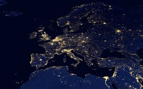 lights, light, space, Africa, panorama, map, snapshot, Europe, continents, night, overview, continents, part of the world, evening, Asia