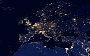luci, chiaro, spazio, Africa, panorama, mappa, snapshot, Europa, continenti, notte, Panoramica, continenti, parte del mondo, sera, Asia