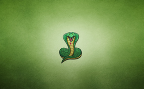 minimalism, greenish background, cobra, snake, potbellied