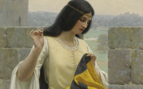 Edmund Blair Leighton, picture, romanticism, standard, English artist, Pre-Raphaelite, width, virgin, Stitching the Standard, castle, banner, Middle Ages, girl, queen