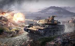 camouflage, smoke, clouds, fire, Average Tanks, Mountains, Germany, Heavy Tank, shot, World of Tanks, flame, Japan