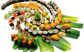 Gr?ns, sushi, Lachs, Scheiben, Black Caviar, Ornamentik, Garnele, Thunfisch, Japanische K?che, Meeresfr?chte, Sushi, Verlegung, rotem Kaviar, Rollen, rote Fische, Laub, Reis, Thread