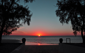 Strand, Sonnenuntergang, Bäume, Meer, Sonne
