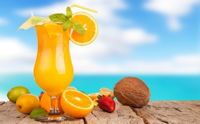 strawberries, juice, wineglass, lime, umbrella, Lemon, orange, coconut, tubule, oranges, drink, summer