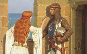 Edmund Blair Leighton, armor, romanticism, drawing, virgin, Pre-Raphaelite, wall, picture, love, Middle Ages, castle, knight, fortress, English artist, shadow
