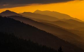 Carpathians, sunset, Poland, Mountains