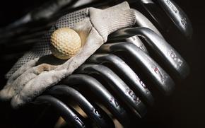 мяч, гольф, макро, перчатка, клюшки