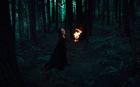 fire, forest, girl