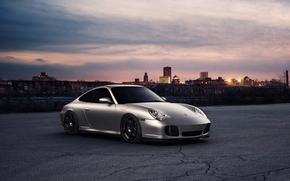 tramonto, Porsche, HORIZON, città