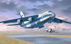drawing, Volga-Dnepr, heavy long-range transport aircraft, Ruslan, Art, OKB. Antonov