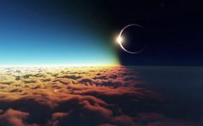 ECLIPSE, dark, moon, clouds, light, sky, sun, HORIZON, distance