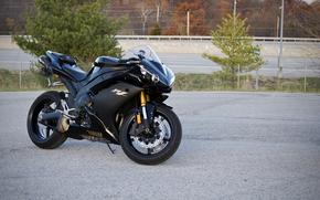 nero, Pilastri, alberi, moto, stradale, Yamaha