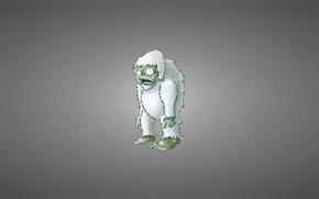 minimalism, yeti, snowman, Bigfoot, light background, zombie