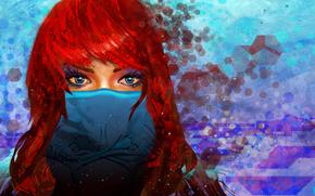 взгляд, маска, голубые глаза, арт, девушка, красные волосы