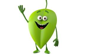 gioia, luminoso mostro sorridente su sfondo bianco, mostro verde foglia