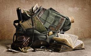 Borsa, libro, occhiali, fotocamera, rasoio, Vintage, cannocchiale, bussola, carte