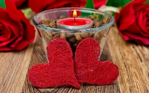candle, holiday, hearts, Valentine