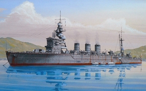 Mountains, Art, port, light cruiser, sky, parked, harbor, clouds, Japanese, drawing