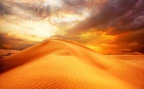 природа, дюны, небо, пустыня, восход солнца, облака, песок, пейзаж