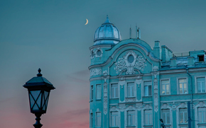 morning, Moscow, moon, lantern
