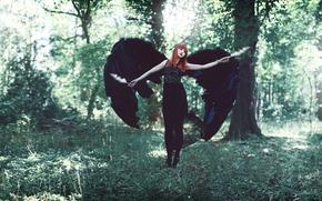 piumaggio, ragazza dai capelli rossi, ali