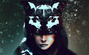 shaman, view, girl, Art, wolf