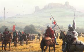 castello, cavallo, combattimento, battaglia, Cavalieri, collina, assedio, Cavalli, Medioevo