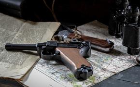 pistola, Parabellum, mappa, Giornale, Luger, BINOCOLO
