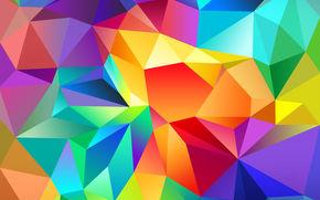 цвет, треугольник, свет, линии, узор, объем