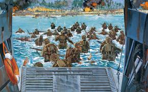 vittoria, soldati, militare, Marines, atterraggio, totale, Giapponese, marino, Art, Sanguinoso, più, per, artista, combattimento, USA, Tarawa, Azione, Teatro, battaglia, tenuto, truppe, oltre, Pacifico