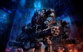 взрывы, Роботы, оружие, дождь