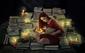 Candles, girl, fire, Books