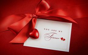 holiday, card, bow, heart, satin ribbon
