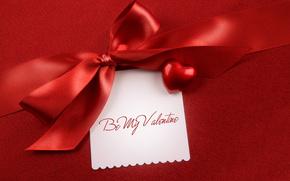 card, bow, heart, satin ribbon, holiday, Valentine