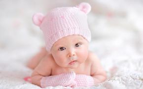 kochanie, Mała dziewczynka, kochanie, nowo narodzony, dzieci, Nastrój, Czapka, oczy