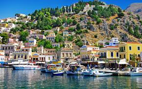domestico, isola, costa, pietre, Mar Egeo, alberi, Simi, Imbarcazione, natura, Montagne, Grecia