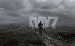 zombie, man, dog, sky, Grey, field, road, helicopter