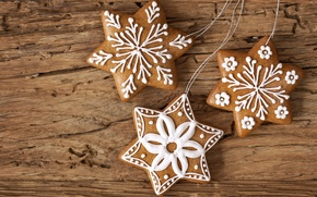 cookies, Snowflakes, New Year, Star, New Year's, glaze, asterisk, dessert, Christmas, baking