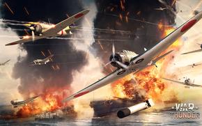 single-engined, deck, Japanese, torpedo-boat, Nakajima, sky, cruiser, fighter, Art, ship, war, Mitsubishi, battleship, Zero, explosion, Pearl Harbor, Kate, piston