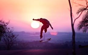 skateboard, helmet, sun, sunset, guy, jump