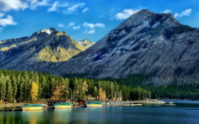 Канадские Скалистые горы, Банф, суда, лес, Озеро Минневанка, пристань, Альберта, Канада