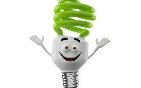Luce del mostro, gioia, luminoso mostro sorridente su sfondo bianco