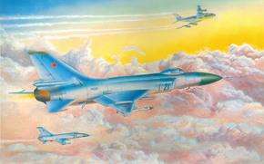 в небе, советский, арт, авиация, истребитель-перехватчик, самолёт